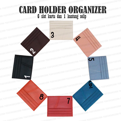 Card Holder Organizer 6 slot kartu bahan PVC Leather Kulit Sintetis